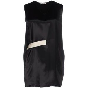 Acne Tops - ACNE Studios Black Ash Satin Tunic Belted Top
